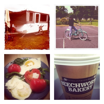 Four images inluding: our camper trailer, me on Wanda, my bike, a coffee cup from Beechworth Bakery and a plate of vibrant coloured food.